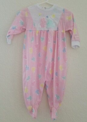 Vtg Baby Girls Retro Footed Outfit Sz 9 Mo Little Me Schwab Pink Bunnies 90's