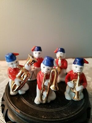 Vintage 5 Monkey Band Figurines Porcelain Adorable Band Drum Horns Germany