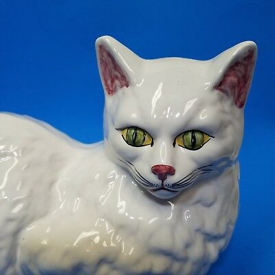 Large Vintage Norleans Ceramic White Lying Cat Handmade In Portugal