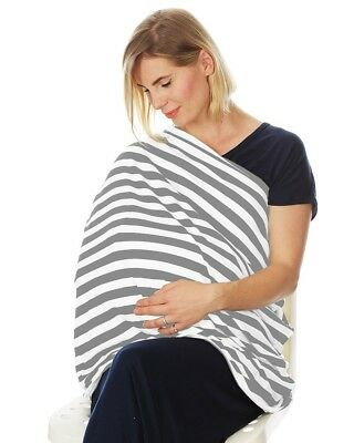 Nursing Cover Infinity Scarf Car Seat Cover Carseat Canopy (Grey White Stripes)