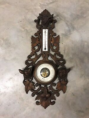 Antique French Hunting Wood Barometer 19Th Century Or.france