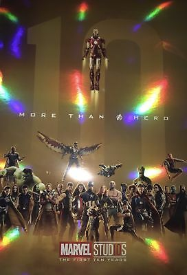 Marvel Avengers Infinity War First 10 Years Movie Marathon Limited Foil Poster