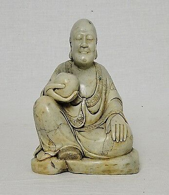 Nice  Hand  Carved  Chinese  Shou-Shan  Stone  LouHan  Figure     M2845