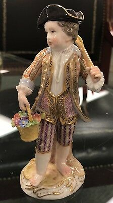Antique Meissen Porcelain Figurine Young Boy Courting With Flowers Basket