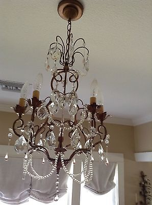 c 1920 French Gold Gilt Crystal Chandelier  Prisms, Swags And Spear