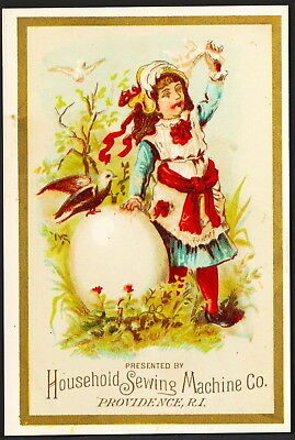 Victorian Easter Trade Card - Household Sewing Machine Co. Girl with Giant Egg
