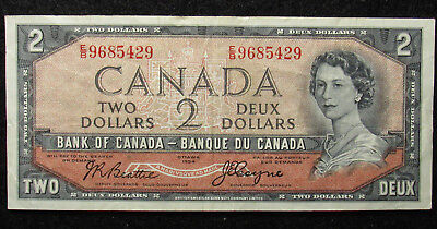 1954 Canada $2 Bank Of Canada Note DEVIL'S FACE (429)