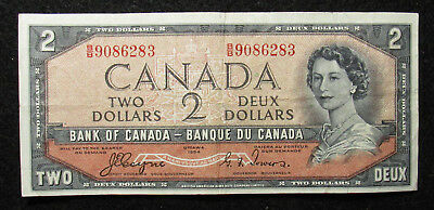 1954 Canada $2 Bank Of Canada Note DEVIL'S FACE (283)