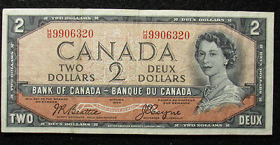 1954 Canada $2 Bank Of Canada Note DEVIL'S FACE (320)