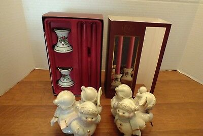 2 Pair Of Lenox Christmas Candlestick Holders