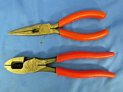 "2PC SNAP-ON PLIERS/CUTTERS Red Grip 7-3/8"" Lineman's #57AHLP & #196BCP (117925G)"