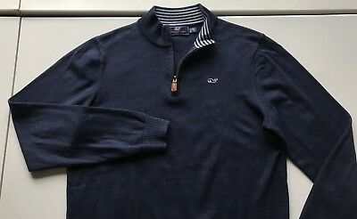 Vineyard Vines Boys Size XL (18)  Navy Blue 1/4 Zip Pull Over Sweater Whale Logo
