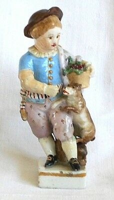C18Th Meissen Hand Painted Figure Of A Boy With His Dog