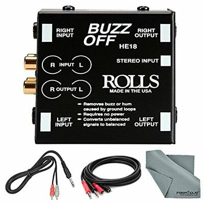 Rolls HE18 Buzz Off Dual Channel Hum & Buzz Remover and Accessory Bundle w Cable