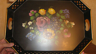 VTG HAND PAINTED ROSES  SPRING BOUQUET BLACK TOLE TRAY RETICULATED 20 x 15