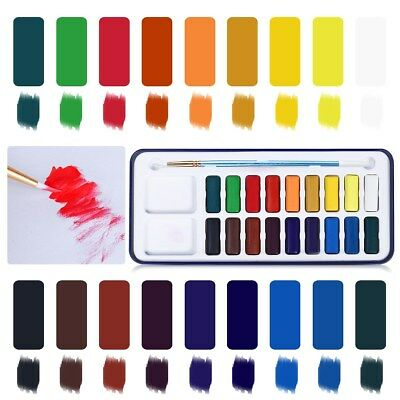 18 Colors Portable Solid Watercolor Set Solid Water Color With Paintbrush Set AU