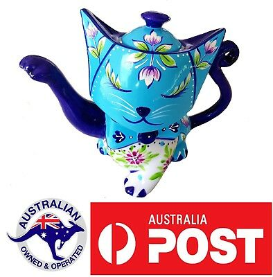 Cat Collectable Ceramic Novelty Tea pot Teapot Animal hand painted gift fun blue