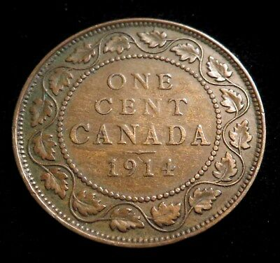 """Canada,1914 1 Cent, Large Cents ~ George V with """"DEI GRA""""  US Free Shipping"""