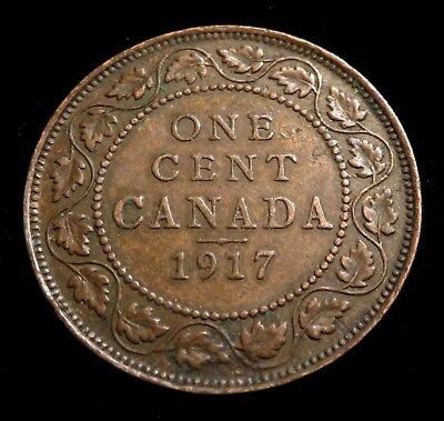 """Canada,1917 1 Cent, Large Cents ~ George V with """"DEI GRA""""  US Free Shipping"""