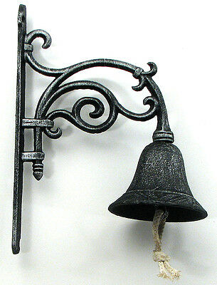 "Large Vine Bell Black Antiqued Finish 10"" H. Indoor / Outdoor Wall Mount"