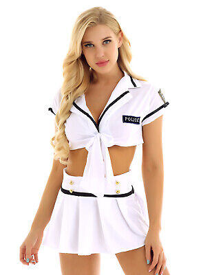 Woman's Cop Police Uniform Costume Outfit Pleated Skirt Officer Sexy Fancy Dress