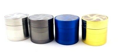 4 Piece Magnetic 1.5 Inch Black Tobacco Herb Grinder Spice Zinc Alloy With Scoop