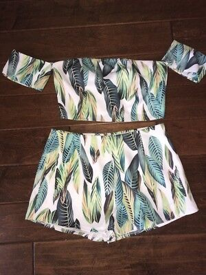 L'atiste By Amy Two Piece Leaf Print Short Set Size M