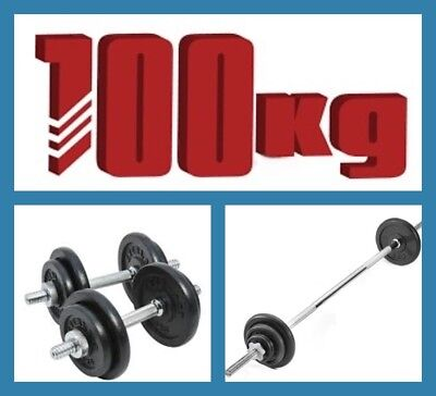 New 100KG CAST IRON STANDARD  WEIGHTS BARBELL + DUMBBELL SET + 7foot BAR