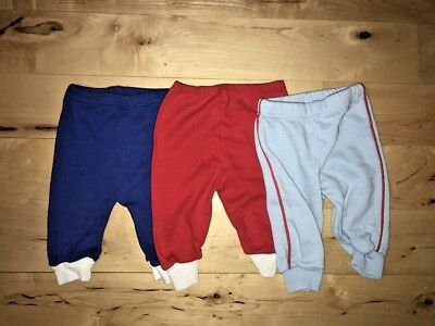 Vintage Baby Boys Sweatpants 80's Lot of 3 Size 0-6 Months