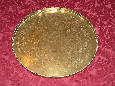 Vintage Asian Chinese Brass Etched Double Dragon Serving Tray Platter Round 14""