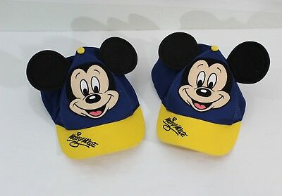 MICKEY MOUSE Ears Baby Baseball Cap Hat Disney Youth Yellow Blue Lot Of 2!!