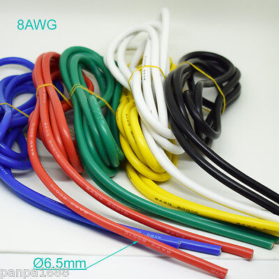 10 Meter 8AWG Flexible Soft Silicone Wire Tin Copper RC Electronic Cable 6 Color