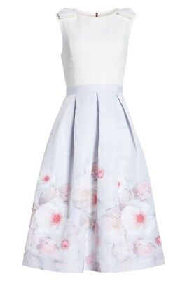 f353fe50f463 TED BAKER LIGHT Grey Gilith Chelsea Bow Shoulder Pleated Midi Dress ...