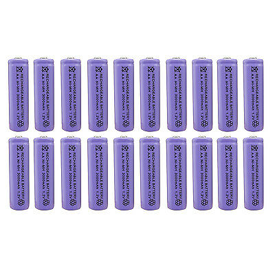 20 x AA 2A 3000 (Actual 300mAh) 1.2V Ni-MH NiMH Rechargeable Battery Cell Purple