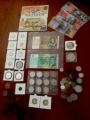 Coin & Notes Collection Bulk Lot Pennies Pre Decimal Silver Over 70 items