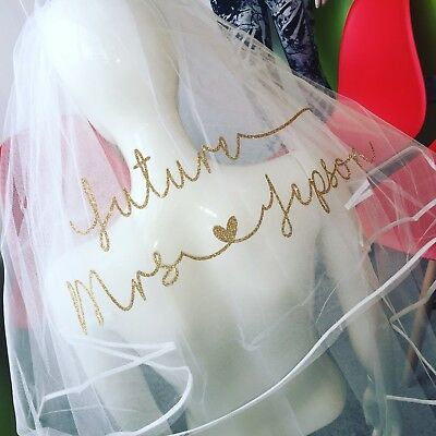 Personalised Veil Hen Party Glitter New Design Heart Classy Stunning Bride To Be