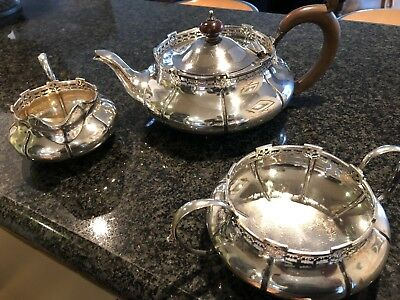 Sterling silver tea service - teapot, sugar bowl, milk jug 1920s