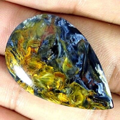 27.60Cts. Natural Chatoyant Pietersite Pear Cabochon Untreated Loose Gemstone