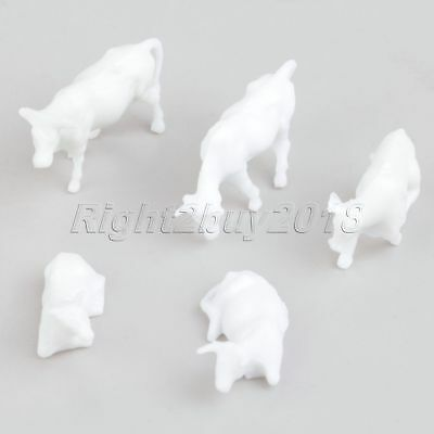 100Pcs Scale 1:87 UnPainted White Plastic Mixed Sizes Poses Farm Animals Cows
