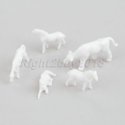 100Pcs Scale 1:150 UnPainted White Plastic Mixed Sizes Poses Farm Animals Horses