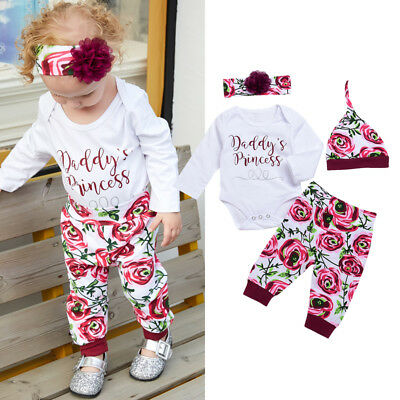 0-24M Newborn Baby Girl Outfit Clothes Romper Top+Pants+Hat+Headband Outfits Set