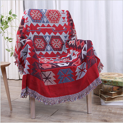 Red Sofa Blanket Bed Throw Blanket Geometrical Pattern Thread