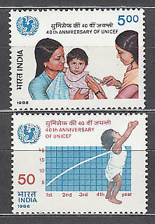 India - Correo Yvert 885/6 ** Mnh  UNICEF