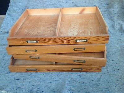 industrial wooden stationary trays vintage