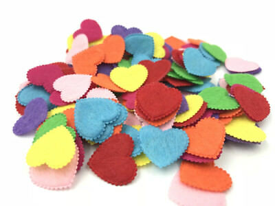 200pcs Mixed Colors Die Cut Felt Heart-shaped Fit Cardmaking decoration 20mm