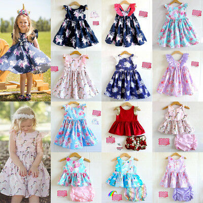 AU Newborn Kid Baby Girls Unicorn Party Pageant Dress Tops Pants Outfits Clothes