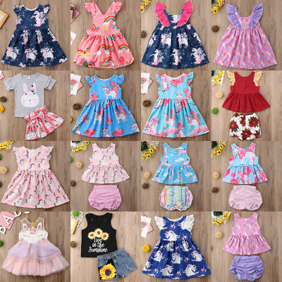US Stock Newborn Kids Baby Girls Unicorn Party Pageant Dress Tops Shorts Outfits