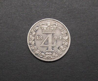 George Iv 1824 Silver Maundy Fourpence