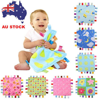 UK Baby Boys Girls Soft Bundle Plush Security Comforter Taggy colourful Blanket