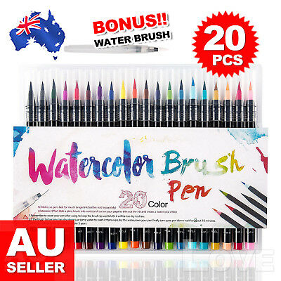 20-Colour Pens Watercolor Drawing Painting Brush Artist Sketch Manga Marker OZ